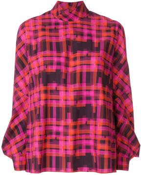 DELPOZO checked high neck blouse
