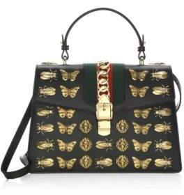 Gucci Metal Mix Sylvie Leather Top Handle Bag - BLACK - STYLE
