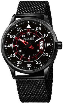 August Steiner Mens Black Strap Watch-As-8223bk