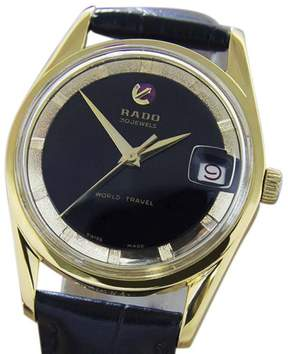 Rado World Travel Gold Plated Stainless Steel & Leather Automatic 34mm Mens Watch 1960s
