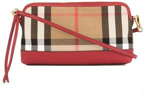 Burberry Mahogany Red Leather and House Check Abingdon Clutch Bag - RED - STYLE