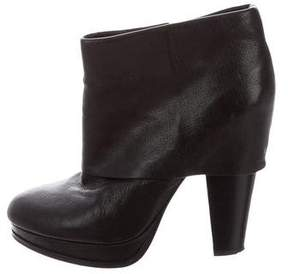 Ash Leather Pointed-Toe Booties
