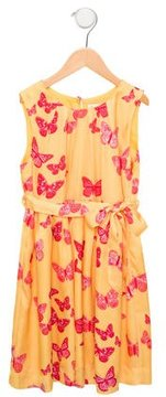 Rachel Riley Girls' Butterfly Print Gathered Dress