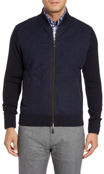 Peter Millar Men's Crown Quilt Front Merino Wool Blend Cardigan
