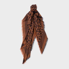Paul Smith Women's Brown 'Leopard' Pattern Wool And Silk-Blend Scarf