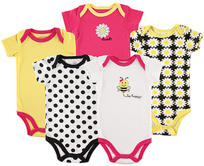 Luvable Friends White & Pink 'Bee Happy' Bodysuit Set - Newborn & Infant