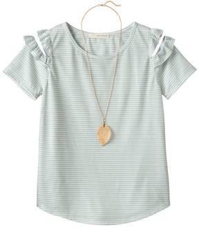 Self Esteem Girls 7-16 Patterned Cold Shoulder Top with Necklace