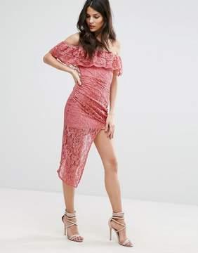 Club L Bardot Asymmetric Hem Lace Detail Dress