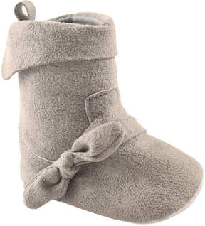 Luvable Friends Gray Fold-Over Suede Booties - Girls