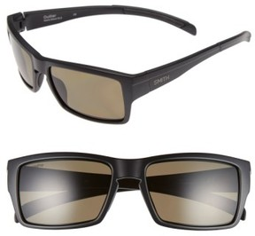 Smith Women's 'Outlier' 56Mm Polarized Sunglasses - Matte Black/ Polarized Green