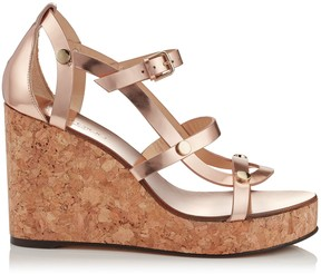 Jimmy Choo NERISSA 100 Tea Rose Mirror Leather Wedges with Studs