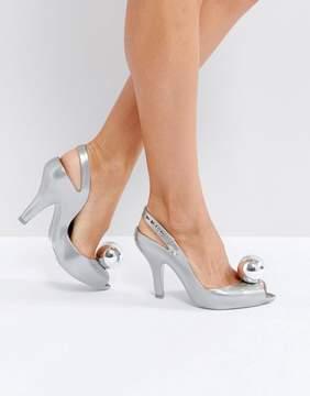 Melissa Lady Dragon Silver Globe Heeled Shoes