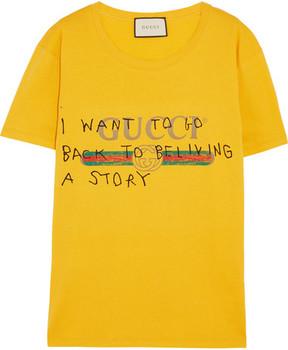 Gucci - Printed Cotton-jersey T-shirt - Yellow