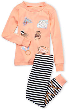 Petit Lem Toddler Girls) Two-Piece Metallic Graphic Top & Striped Leggings PJ Set