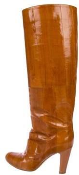 Sergio Rossi Eel Skin Knee-High Boots