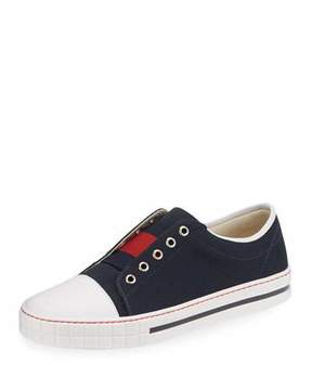 Gucci Canvas Slip-On Low-Top Sneaker, Blue/Red, Junior