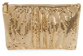 Whiting & Davis Shirred Mesh Pouch Clutch - Metallic