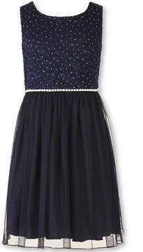 Speechless Sleeveless Navy Sparkle Lace-to-Mesh Ballerina Dress - Girls 7-16 and Plus