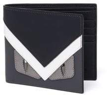 Fendi Monster Calf Leather Bi-Fold Wallet