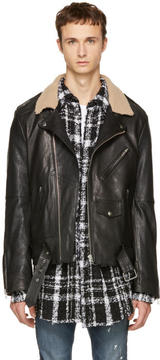 Faith Connexion Black Leather Shearling Collar Jacket
