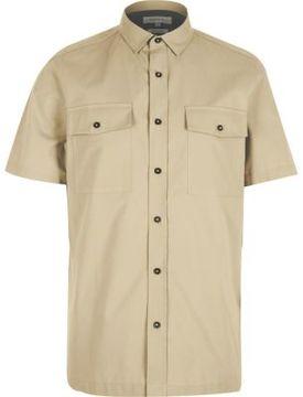 River Island Mens Ecru utility short sleeve shirt