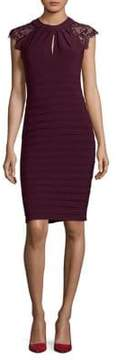 Betsy & Adam Lace Embroidered Sheath Dress