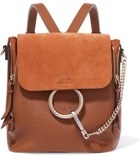 Chloé Faye Small Leather And Suede Backpack - Brown