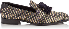 Jimmy Choo FOXLEY Official Navy and Gold Leather Tasselled Slippers
