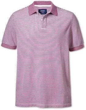 Charles Tyrwhitt Berry and White Stripe Oxford Cotton Polo Size XS