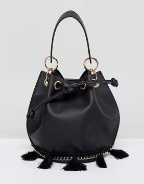 French Connection Bucket Bag With Tassel Detail And Hardware