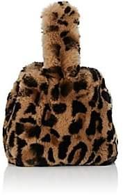 Barneys New York Women's Rabbit Fur Wristlet Bucket Bag-Brown Pat.