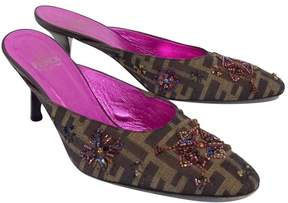 Fendi Brown Beaded Monogram Slide On Heels