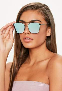Missguided Bar Detail Reflective Square Sunglasses