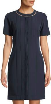 Neiman Marcus Pearlescent-Neck Short-Sleeve Mini Dress
