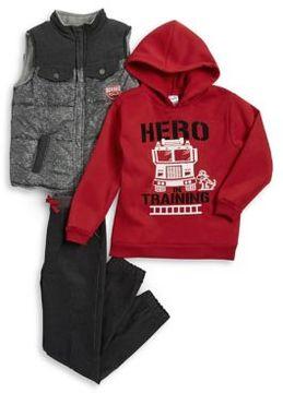Nannette Little Boy's Three-Piece Firetruck Vest, Hoodie and Pants Set
