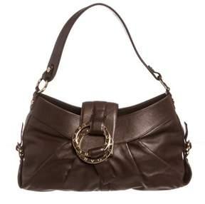 Bvlgari Dark Brown Leather Shoulder Handbag.