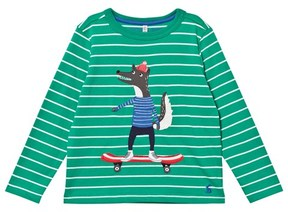 Joules Green and White Stripe Skater Wolf Applique Tee