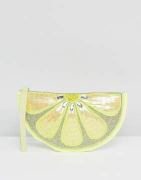 New Look Lemon Embellished Zip Top Clutch Bag