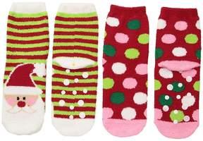 Jefferies Socks Santa Fuzzy Slipper Socks 2-Pack Girls Shoes