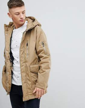Pull&Bear Parka Puffer Hooded Jacket In Tan