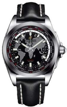 Breitling Galactic Unitime Black Dial Black Leather Automatic Men's Watch WB3510U4-BD94BKLD