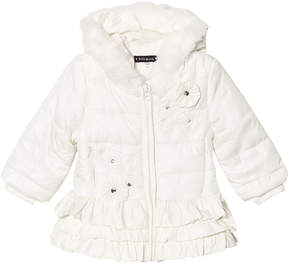 Kate Mack Biscotti Cream Ruffle Hem Embroidered and Jewelled Hooded Puffer Jacket