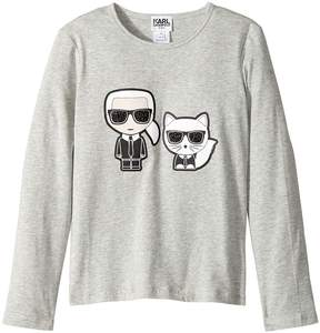 Karl Lagerfeld Long Sleeve Tee with Choupette Graphic Girl's T Shirt