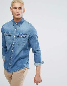 Hollister Stretch Slim Fit Denim Shirt in Mid Wash Denim