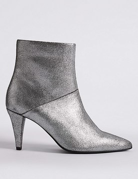 Marks and Spencer Leather Stiletto Pointed Ankle Boots