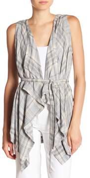 Bobeau B Collection by Margot Waterfall Sleeveless Plaid Jacket