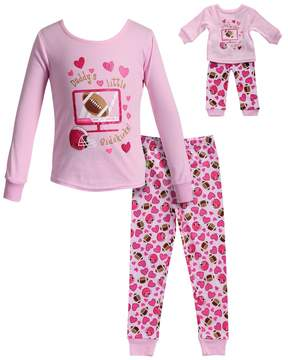 Dollie & Me Girls 4-14 Daddy's Little Sidekick Hearts & Football Top & Bottoms Pajama Set
