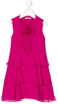 Oscar de la Renta Kids Tiered chiffon bow dress