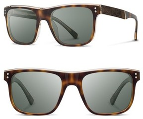 Shwood Men's Monroe 55Mm Polarized Sunglasses - Brindle/ Elm/ G15Pol