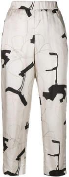 Peserico printed elastic waist trousers